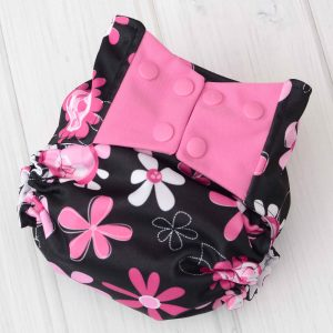 Black & Pink Flower Diaper