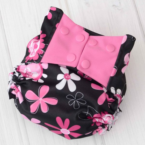 Black & Pink Flower Diaper