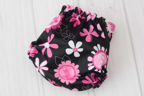 Black & Pink Flowers Cloth Diaper Cover