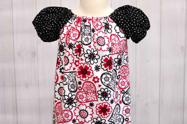 Red Hearts Peasant Dress