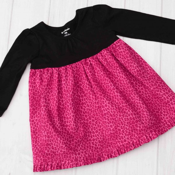 Pink Cheetah Dress, Long Sleeve