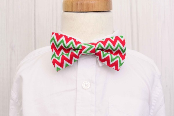 Red and Green Chevron Bow Tie