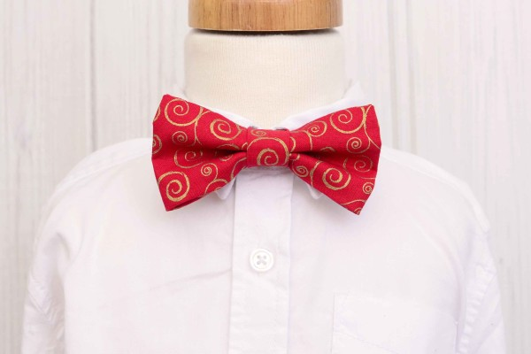 Red and Gold Swirl Bow Tie