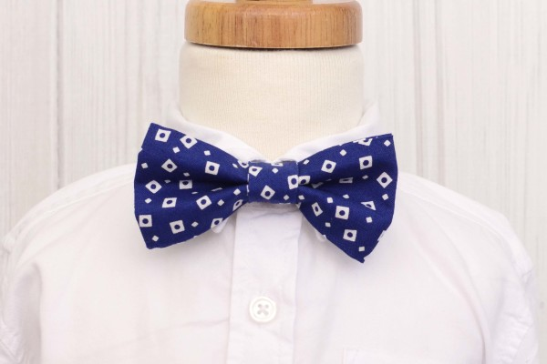Blue with White Squares Bow Tie