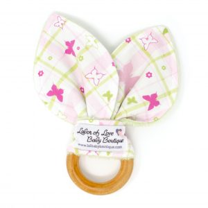 Pink Plaid Butterfly Teething Ring