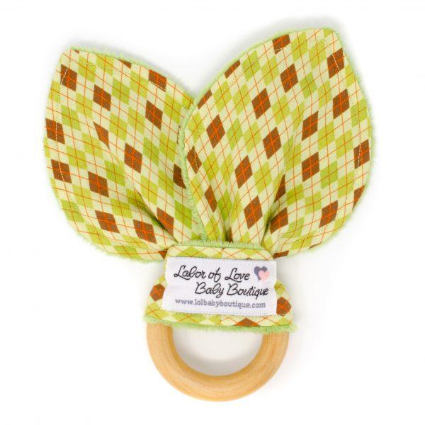 Green Argyle Teething Ring