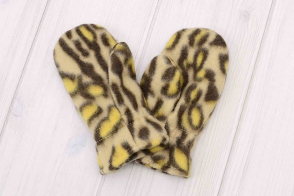 Brown Cheetah Toddler Winter Hat and Mittens