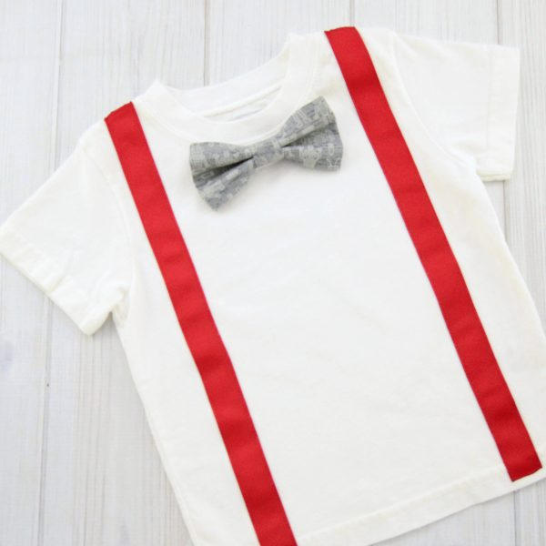 Gray Robots Bow Tie Shirt