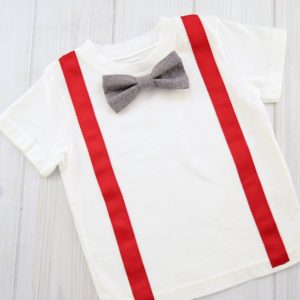 Gray Vines Bow Tie Shirt