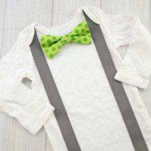 Green Dots Bow Tie Shirt