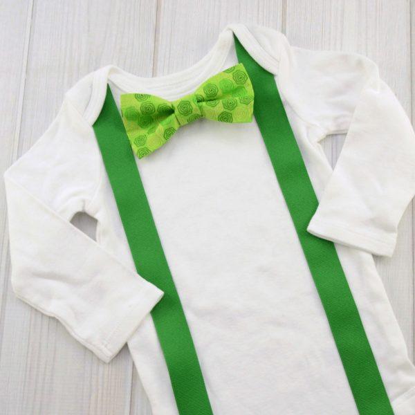 Green Swirls Bow Tie Shirt