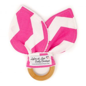 Pink Chevron Teething Ring