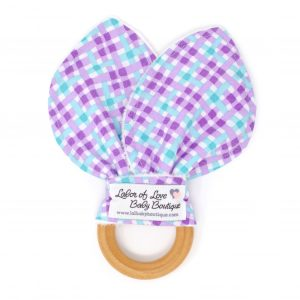 Purple & Aqua Plaid Teething Ring