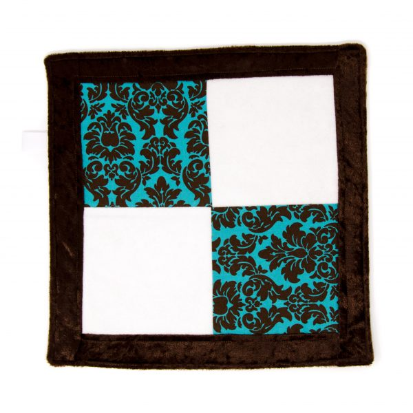 Teal & Brown Damask Sensory Blanket Toy