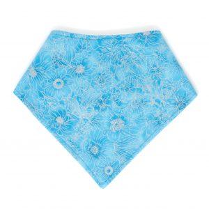 Blue and Silver Flowers Bandana Bib