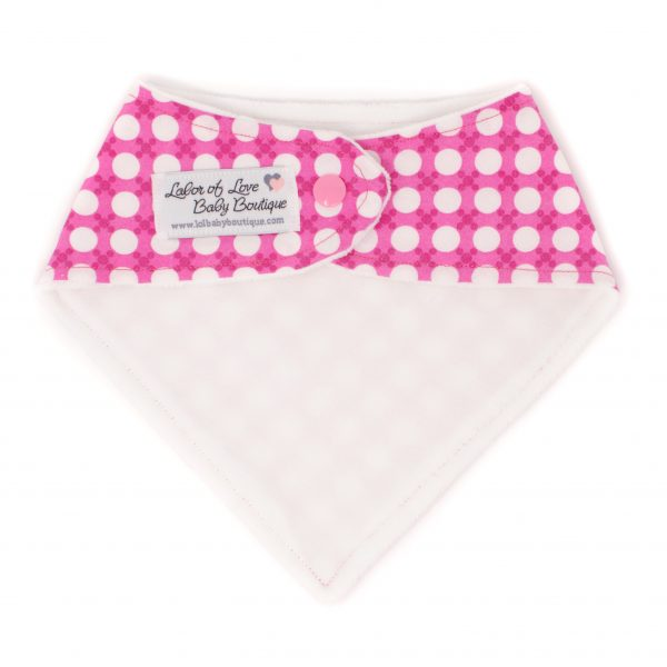 Pink & White Dots Bandana Bib