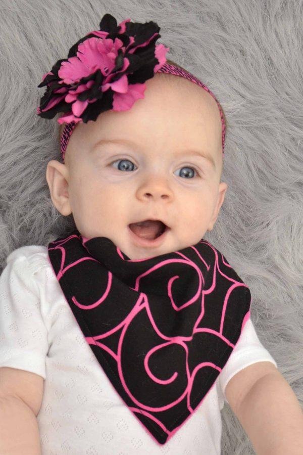 Black & Pink Swirl Bandana Bib