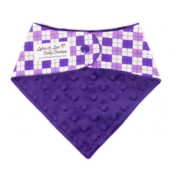 Purple Argyle Bandana Bib