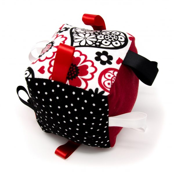 Red Hearts Rattle Block
