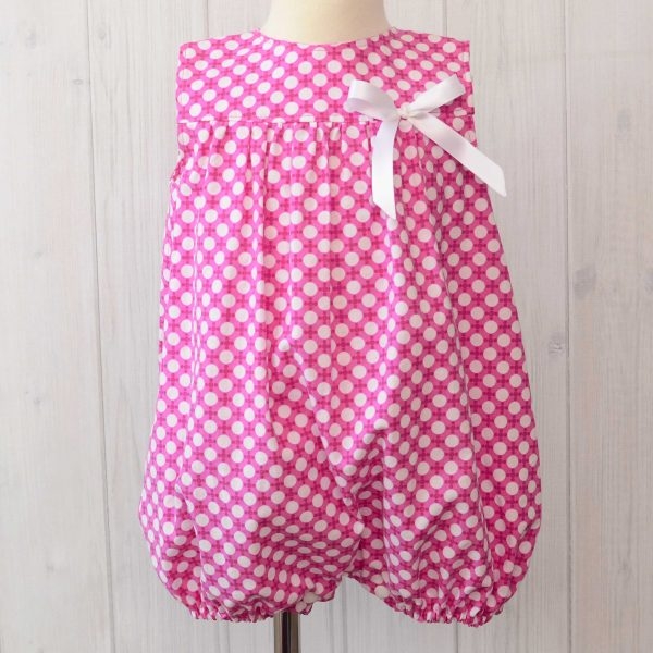 Pink White Dots Bubble Romper