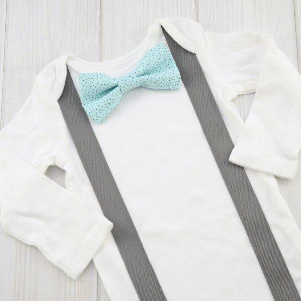Aqua & Brown Dots Bow Tie Shirt