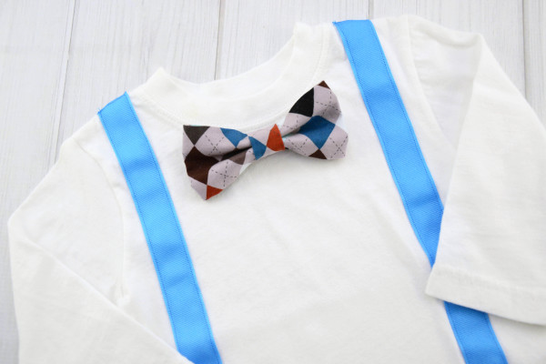Gray Argyle Bow Tie Shirt
