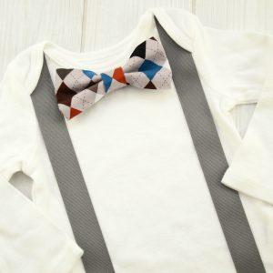 Gray Argyle Bow Tie Shirt