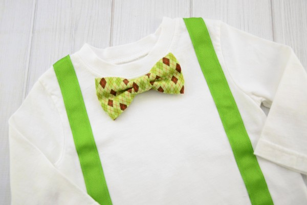 Green Argyle Bow Tie Shirt