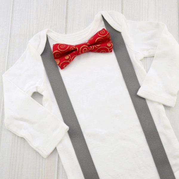 Red & Gold Swirls Bow Tie Shirt