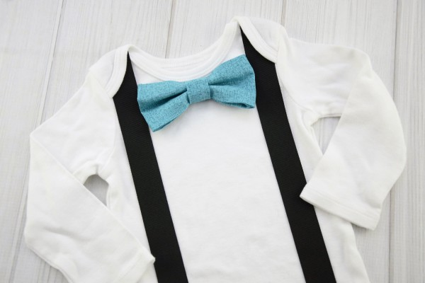 Textured Teal Bow Tie Shirt