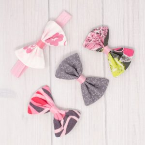 Pink & Gray Hair Bow Set