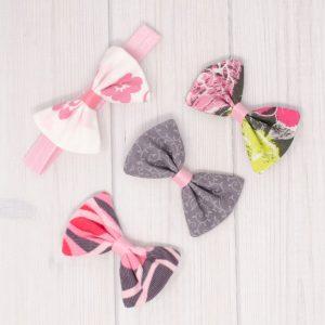 Pink & Gray Hair Bow Set