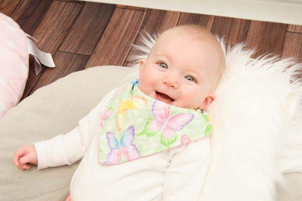 Green Butterfly Fancy Baby Bib - Nora