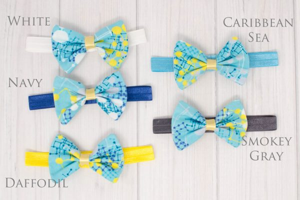 Blue & Yellow Hair Bow Headband Colors