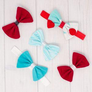 Aqua and Red Hair Bow Set