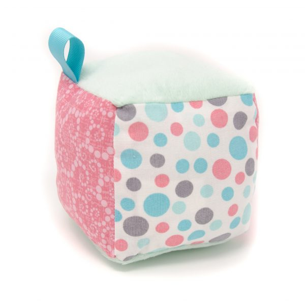 Teal & Pink Dots Rattle Block