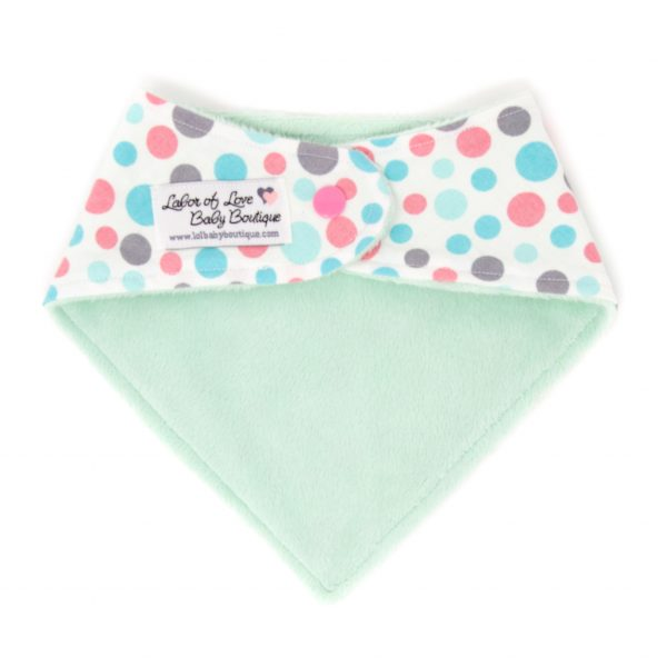 Teal & Pink Dots Bandana Bib