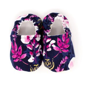 Navy & Pink Orchids Baby Shoes