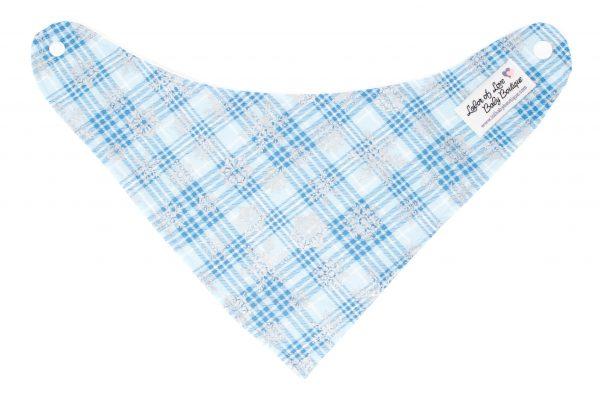 Blue Plaid Snowflake Bandana Bib