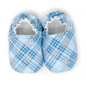 Blue Plaid Snowflake Baby Shoes