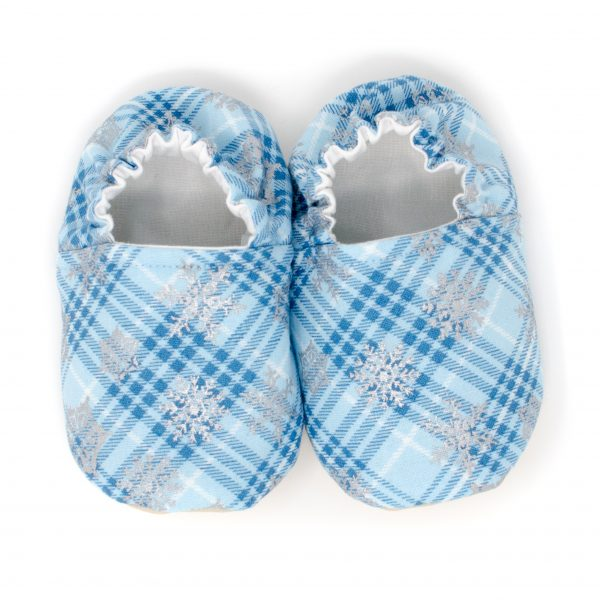 Blue Plaid Snowflake Baby Shoes