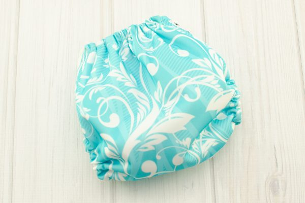 Aqua Floral Cloth Diaper Cover