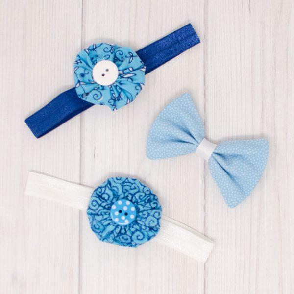 Blue Hair Bow Set