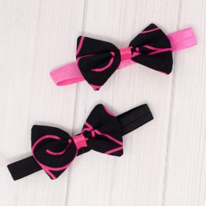 Black & Pink Swirl Hair Bow