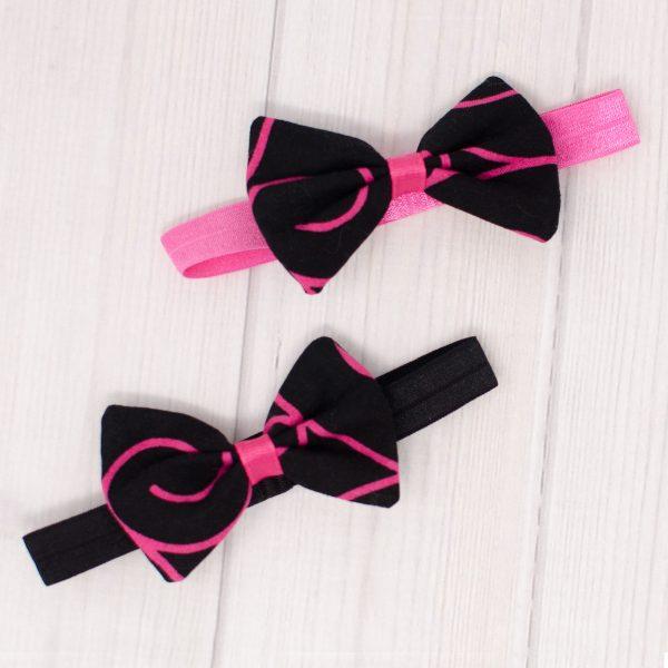 Black & Pink Swirl Hair Bow