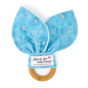 Blue & Silver Flowers Teething Ring