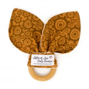 Brown Gears Teething Ring