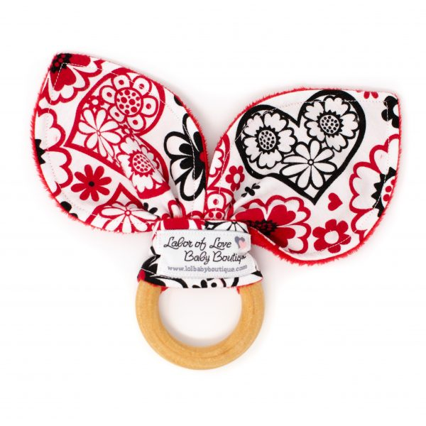Red Hearts Teething Ring